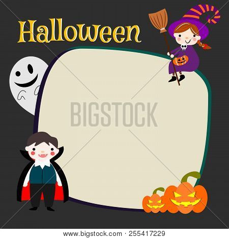 Kids Halloween Costume With Blank Paper. Kids Vampire, Witch And Ghost. Halloween Invitation Or Gree