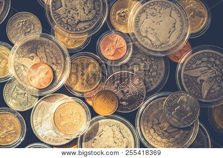 Plenty Of Collectible Coins In Closeup Photography. Vintage United States Of America Coins. Some In