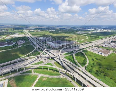 Flyover Katy Freeway Interstate 10 Stack Interchange Cloud Blue Sky