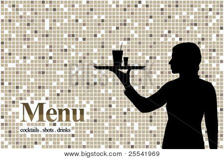 Menu design for a bar or restaurant. With the silhouette of the girl's waiter
