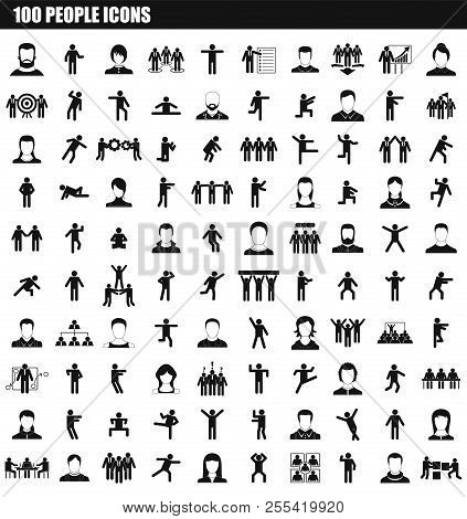 100 People Icon Set. Simple Set Of 100 People Icons For Web Design Isolated On White Background