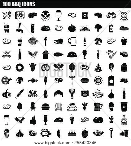 100 Bbq Icon Set. Simple Set Of 100 Bbq Icons For Web Design Isolated On White Background