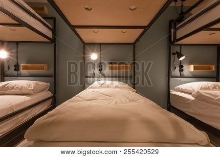 Tbilisi, Georgia - Oct 8: Many Bunk Beds Inside A Dorm Room Of Touristic Hostel With Clean Beds On 8