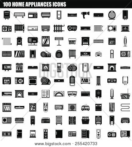 100 Home Appliances Icon Set. Simple Set Of 100 Home Appliances Icons For Web Design Isolated On Whi