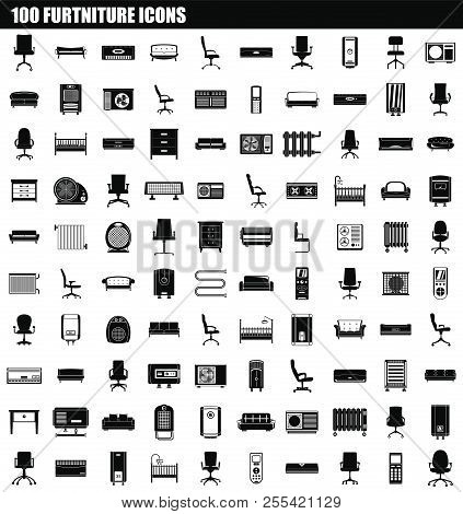 100 Furniture Icon Set. Simple Set Of 100 Furniture Icons For Web Design Isolated On White Backgroun