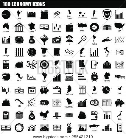 100 Economy Icon Set. Simple Set Of 100 Economy Icons For Web Design Isolated On White Background