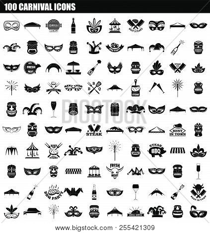 100 Carnival Icon Set. Simple Set Of 100 Carnival Icons For Web Design Isolated On White Background