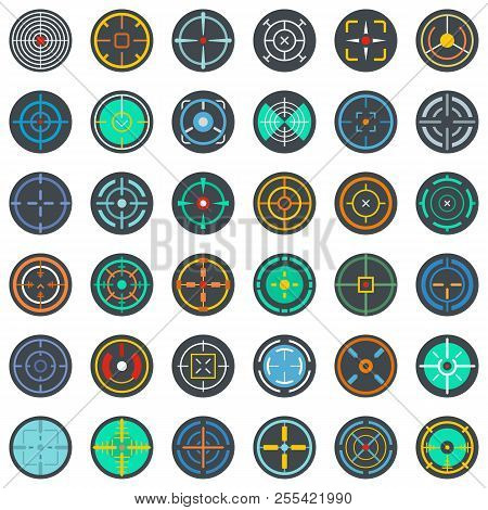 Crosshair target scope sight icons set. Flat illustration of 36 crosshair target scope sight icons isolated on white poster