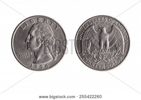 Usa Quarter Dollar Nickel Coin (25 Cents) With A Portrait Image Of George Washington Obverse And Bal