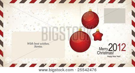 Air mail envelope, Christmas design. C6-C5 format poster