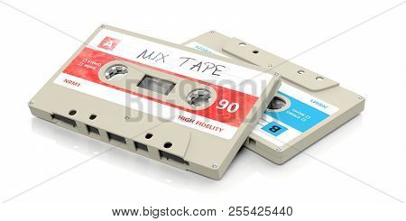 Vintage Audio Cassettes, Text Mix Tape On The Label, Isolated On White Background. 3D Illustration