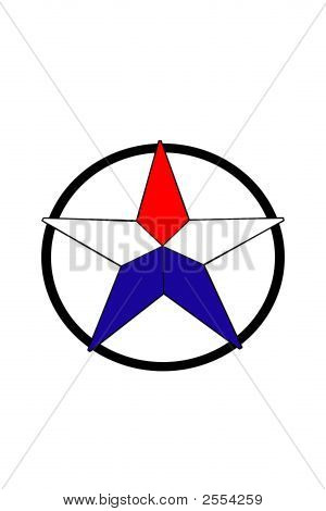 Color Star With A Black Circle.