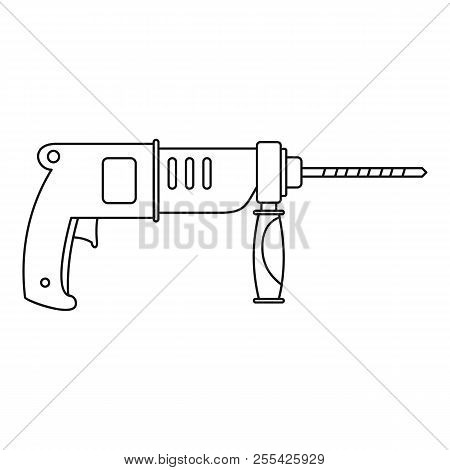Hammer Drill Icon. Outline Hammer Drill Icon For Web Design Isolated On White Background