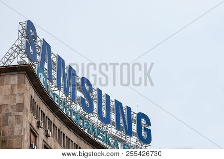 Belgrade, Serbia - August 25, 2018: Samsung Logo On Their Main Office For Serbia. Samsung Is One Of