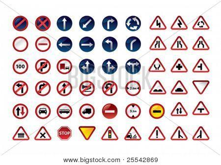 Traffic signs. Vector illustration.