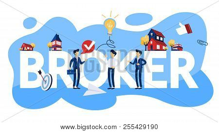 Business Broker Concept Illustration. Real Estate Agent.