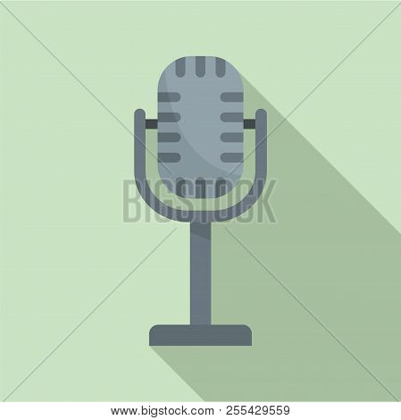 Studio Microphone Icon. Flat Illustration Of Studio Microphone Icon For Web Design