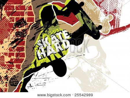 Skateboarding poster with grunge background. Vector illustration.