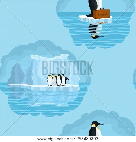 Seamless Light Pattern With Penguins And Snow Glaciers.stock Vector Illustration