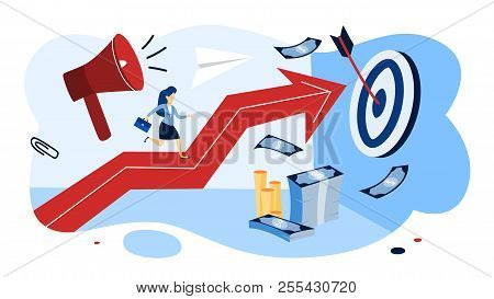 Motivation Concept. Business Woman Running Up The Arrow.