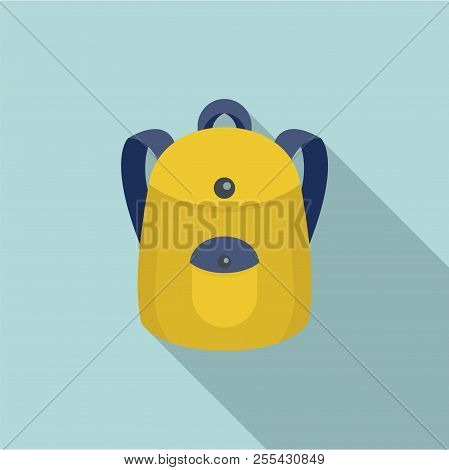 School Backpack Icon. Flat Illustration Of School Backpack Icon For Web Design