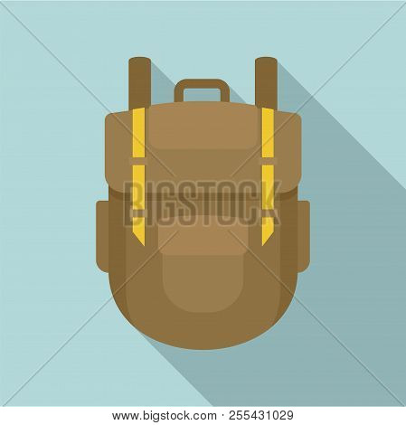 Explore Backpack Icon. Flat Illustration Of Explore Backpack Icon For Web Design