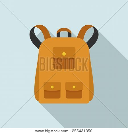 Traditional Backpack Icon. Flat Illustration Of Traditional Backpack Icon For Web Design
