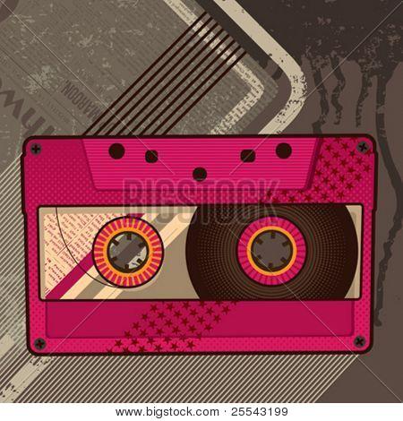Cassette retro background. Vector illustration.