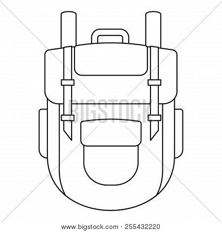 Explore Backpack Icon. Outline Explore Backpack Icon For Web Design Isolated On White Background
