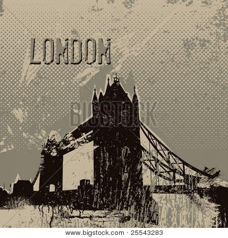 London tower bridge poster. Vector illustration.