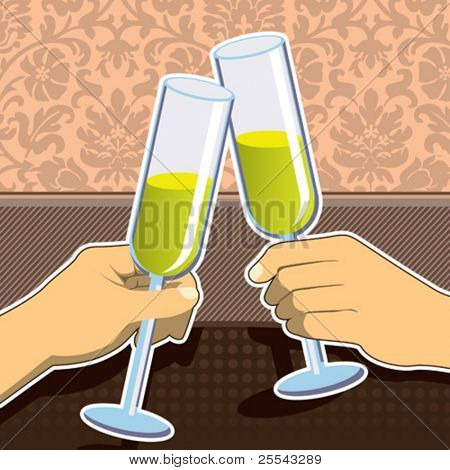 Celebration toast with champagne glasses. Vector illustration.