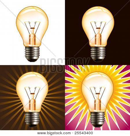 Different light bulb backgrounds. Vector illustration.