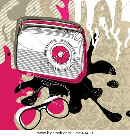 Modern background with retro radio. Vector illustration.