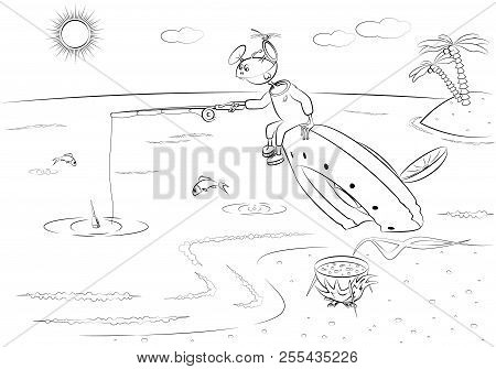 A Funny Alien Are Fishing, Sitting On A Crashed Flying Saucer. Vector Illustration In Line Style.