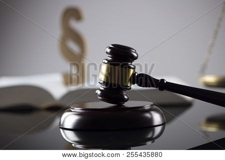 Attorney Office. Gavel, Legal Code And Scale.