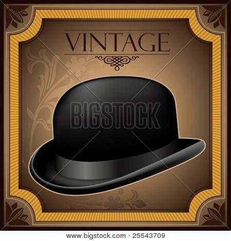 Vintage banner with bowler hat. Vector illustration.