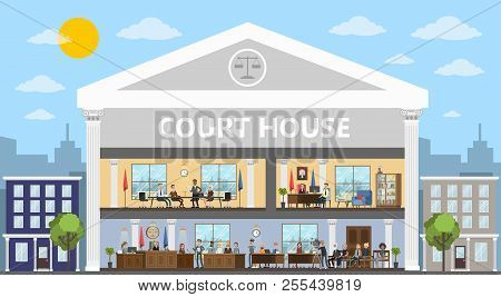 Court Building Interior With Courtroom And Offices.
