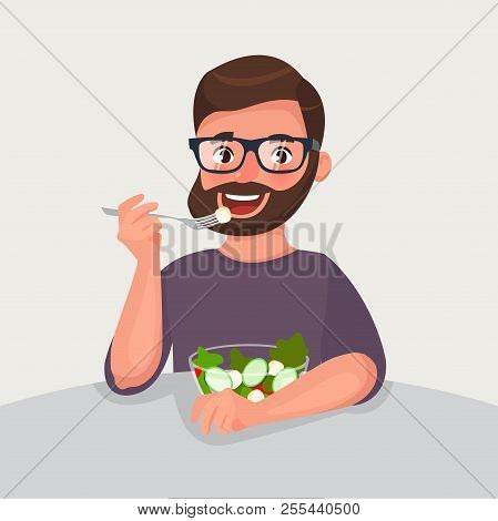 Hipster Beard Man Is Eating A Salad. Vegetarian Concept Of Healthy Nutrition And Lifestyle. Vector I