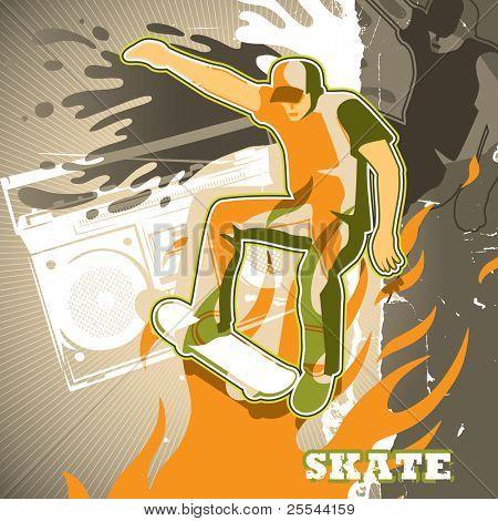 Urban grunge artistic skating background. Vector illustration.