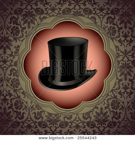 Vintage floral background with top hat. Vector illustration.