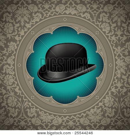 Vintage floral background with bowler hat. Vector illustration.