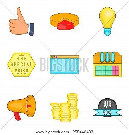 Business Undertaking Icons Set. Cartoon Set Of 9 Business Undertaking Icons For Web Isolated On Whit