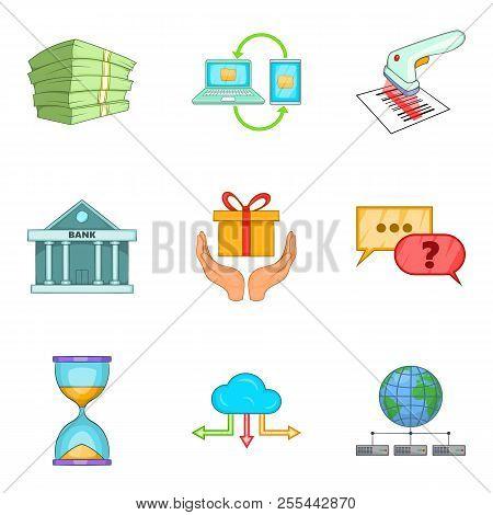 Entrepreneurial Activity Icons Set. Cartoon Set Of 9 Entrepreneurial Activity Icons For Web Isolated