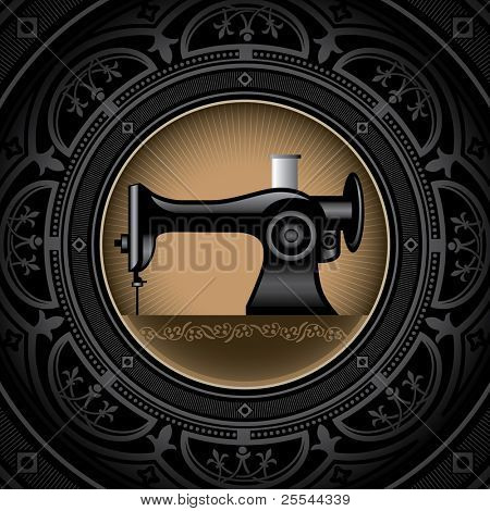 Vintage background with sewing machine. Vector illustration.