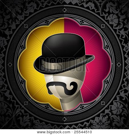 Conceptual vintage background with bowler hat. Vector illustration.
