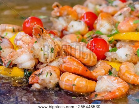 Shrimp Preparing With Vegetables And Herbs Close Up. Hot Shrimp Appetizers With Herbs And Tomato. Sh