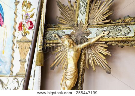 Wooden Golden Old Crucifix