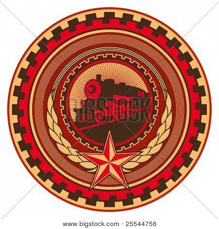 Illustrated retro communistic emblem with decoration. Vector illustration.