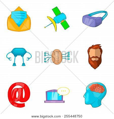Interactive Game Icons Set. Cartoon Set Of 9 Interactive Game Icons For Web Isolated On White Backgr