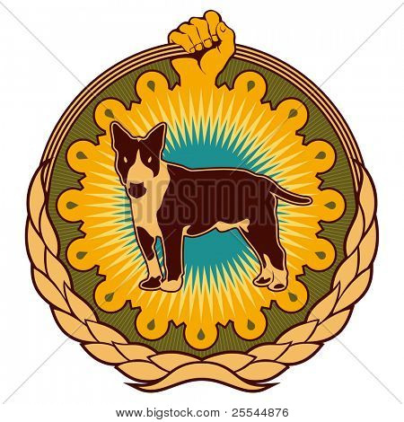 Illustrated colorful ghetto emblem with dog. Vector illustration.
